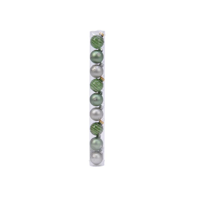 Boîte Boules Verre Déco Mix Vert Ø3 cm 680889
