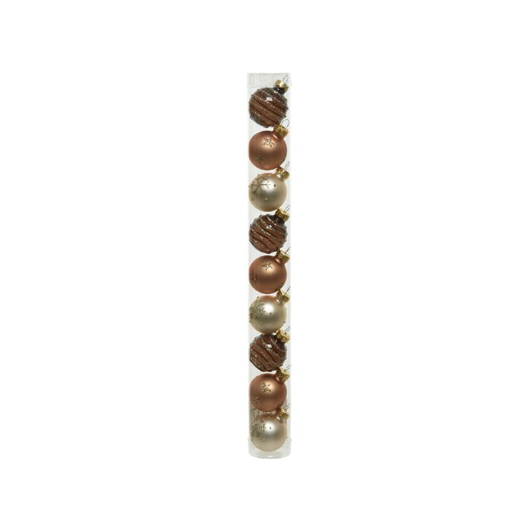 Boîte Boules Verre Déco Mix Marron Ø3 cm 680891