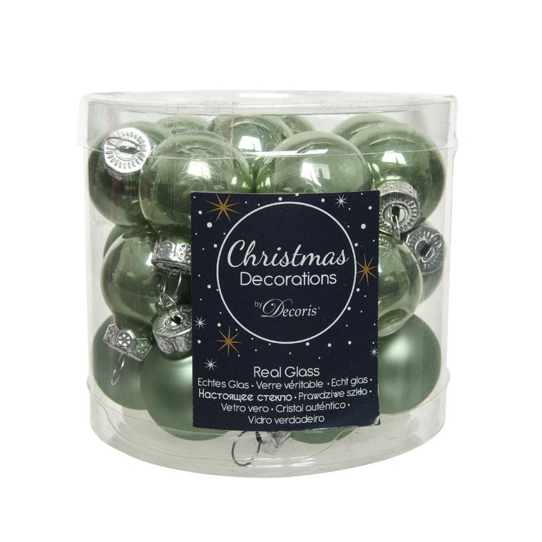 Boîte de 24 mini-boules vertes en verre émail et mat Ø 2,5 cm 680896