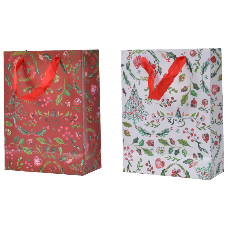 Sac Cadeau Papier Motif Xmas 8x18x24 cm 681048