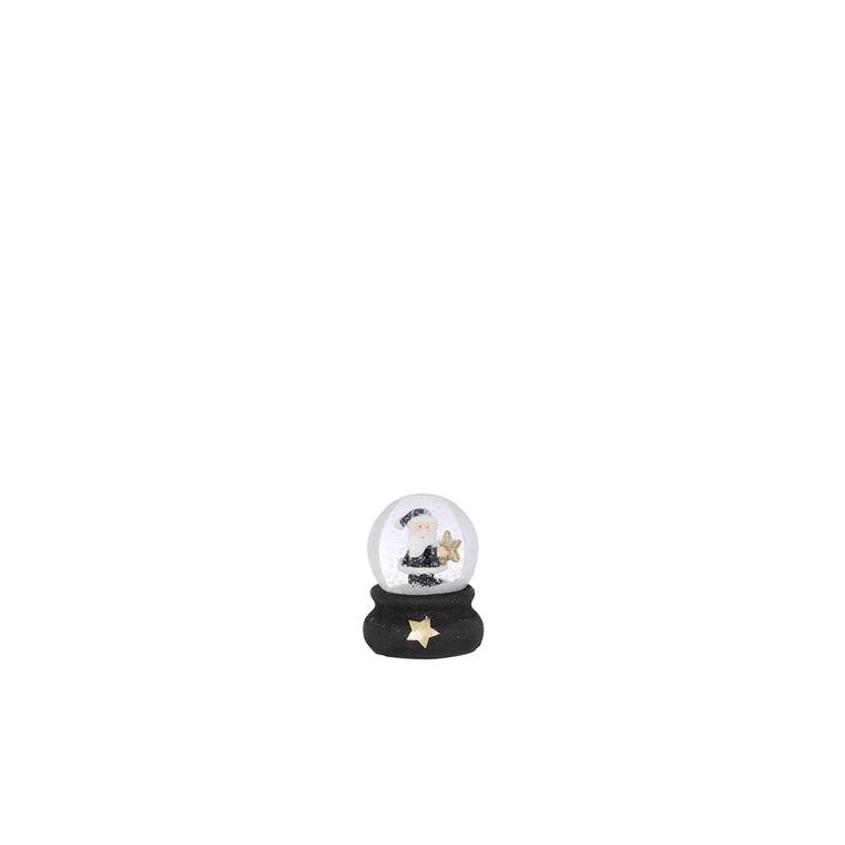 Boule à eau avec Père Noël socle noir en polyrésine H 9 x 9 cm 681596