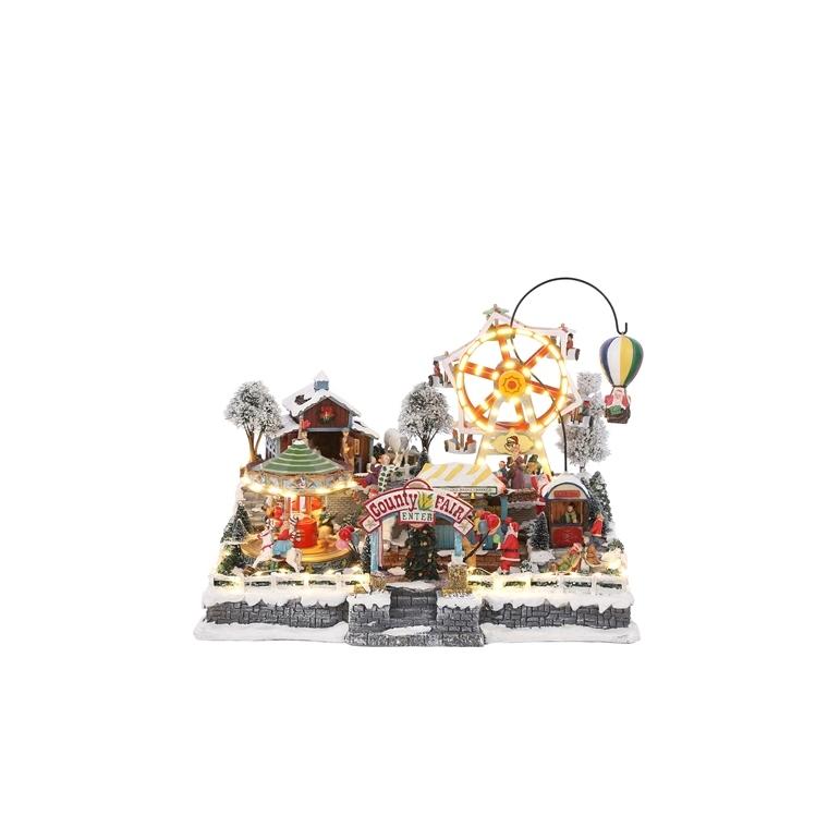 Scène animée Fête foraine avec adaptateur inclus 44x39,5x34 cm 681721