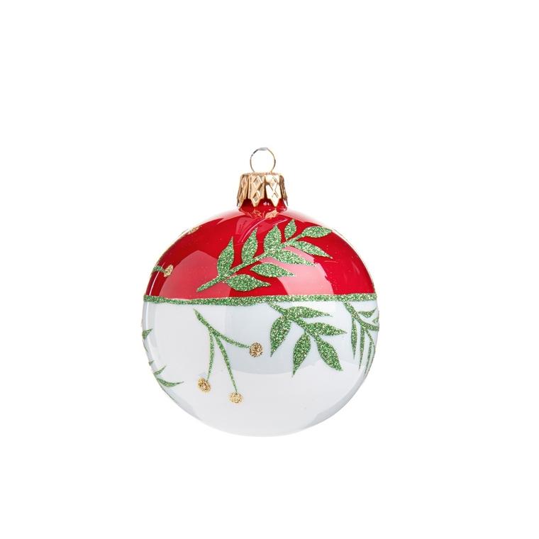 Boule de Noël en verre blanc et rouge imprimé feuillages 681897