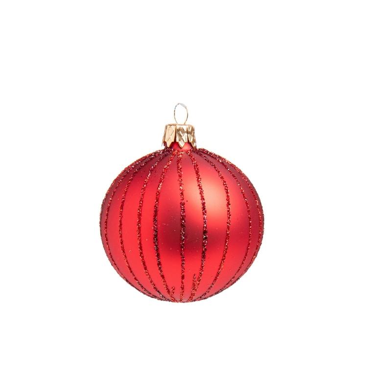 Boule de Noël en verre rouge avec rayures 681922
