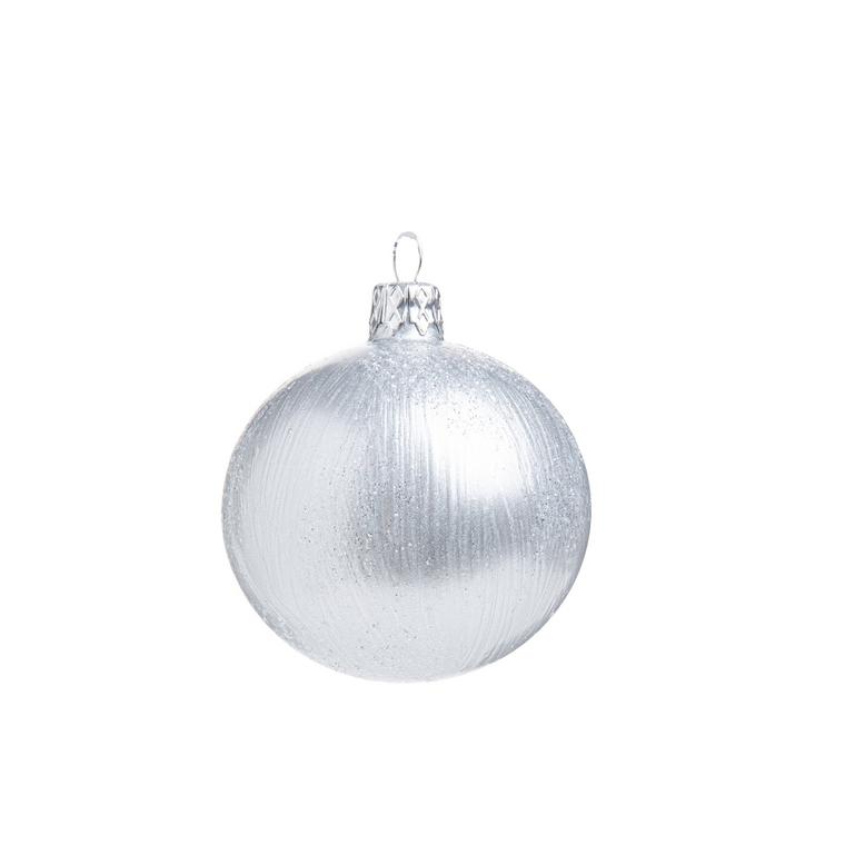 Boule de Noël en verre blanc avec stries 681955