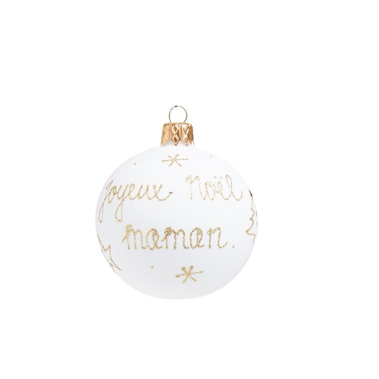 """Boule de Noël en verre blanc imprimé doré """"Joyeux Noël Maman"""" 681987"""