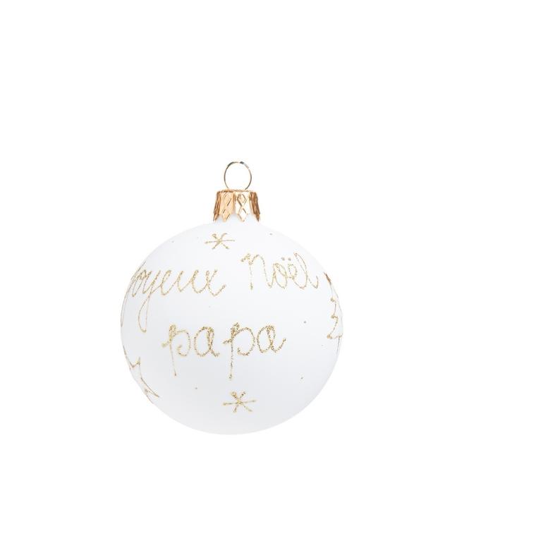 """Boule de Noël en verre blanc imprimé doré """"Joyeux Noël Papa"""" 681988"""