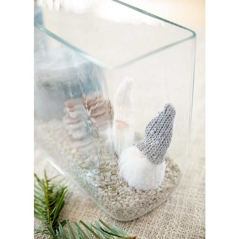 Figurine Père-Noël gnome avec chapeau brillant blanc et gris de 9 cm 682587
