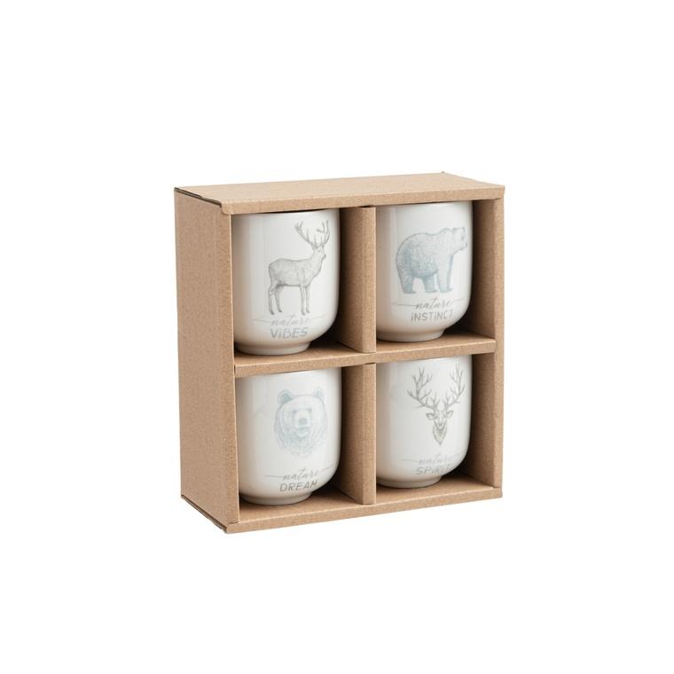 Coffret 4 tasses à café nature céramique 682676