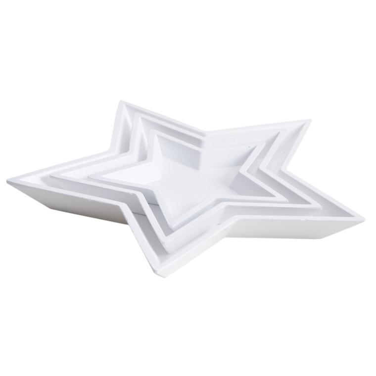 Plat étoile x3 bois 24x24x2,5 cm T1 683218
