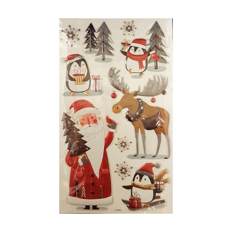 Planche d'autocollants motifs père Noël, pingouin et cerf 683594