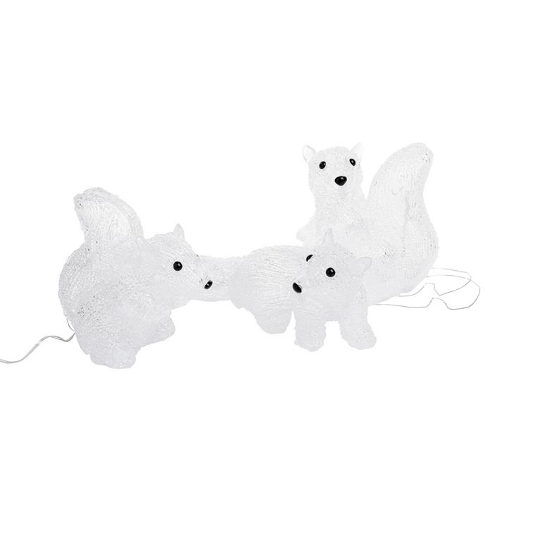 Ecureuil en acrylique blanc 18 Led 26x16x17 cm 683596
