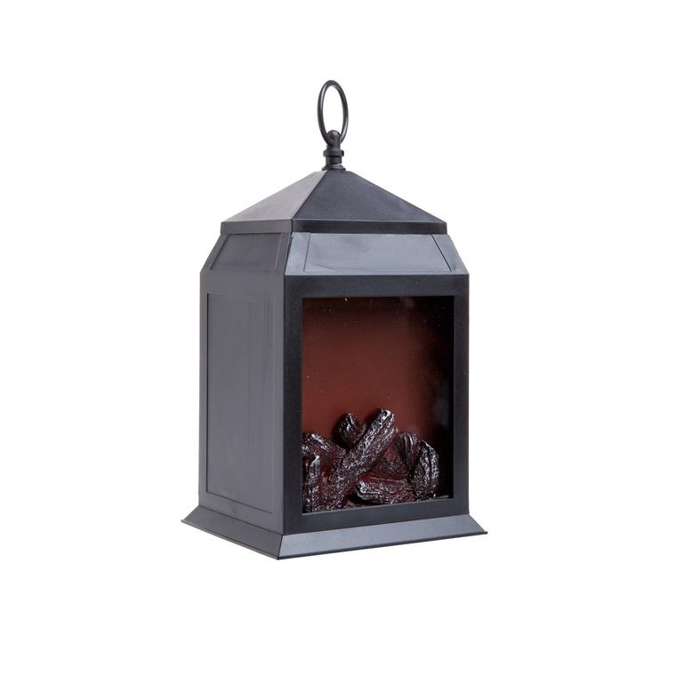 Lanterne imitation feu de bois brun 16x14x27.5cm 683603