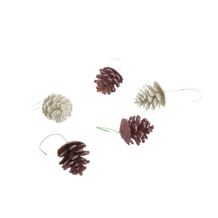 Boite pommes de pin pailletées marron en plastique Ø 5 cm 684198