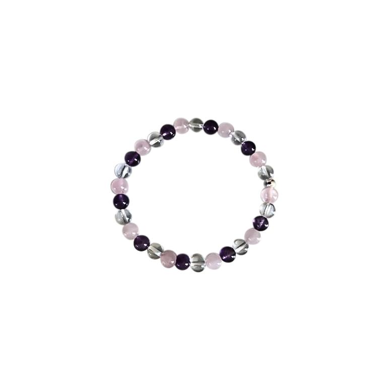 Bracelet améthyste cristal quartz rose 6mm 685136