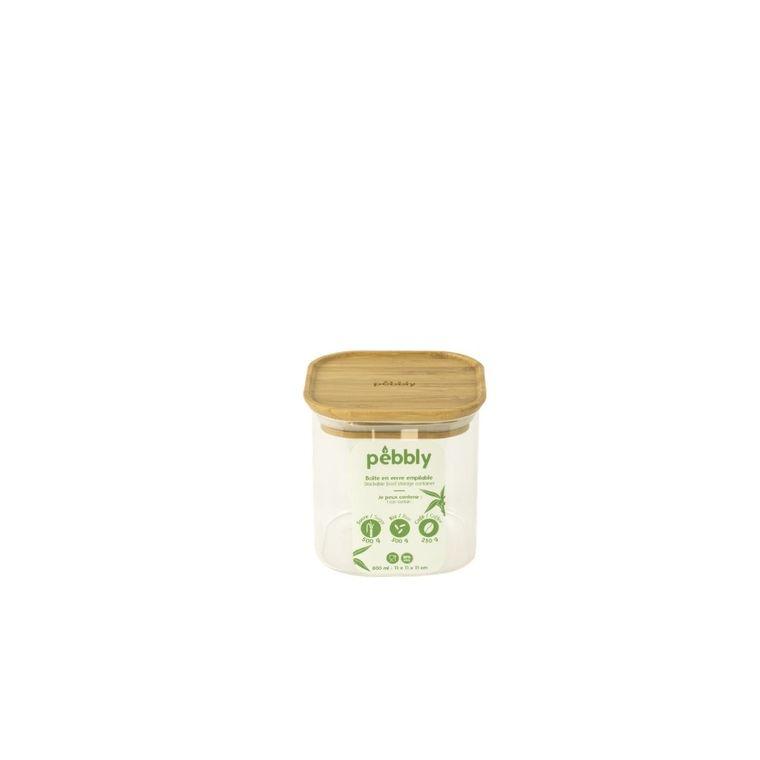Boîte en verre empilable 800 ml avec couvercle en bambou 11x11x11 cm 685412