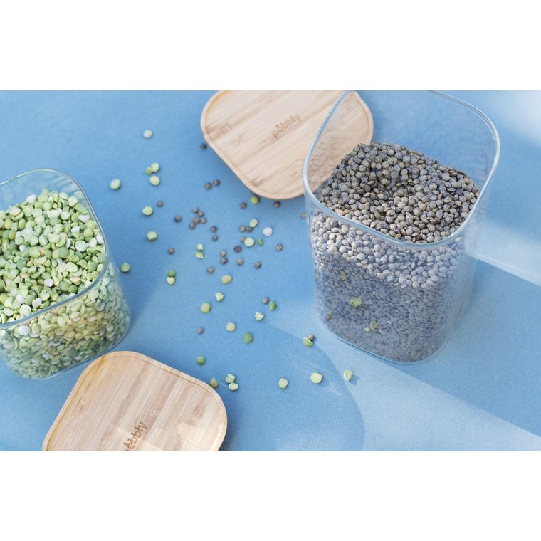 Boîte en verre empilable 1400 ml avec couvercle en bambou 11x11x20 cm 685413