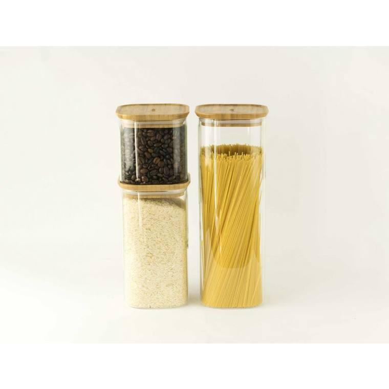 Boîte en verre empilable 2200 ml avec couvercle en bambou 11x11x30 cm 685671