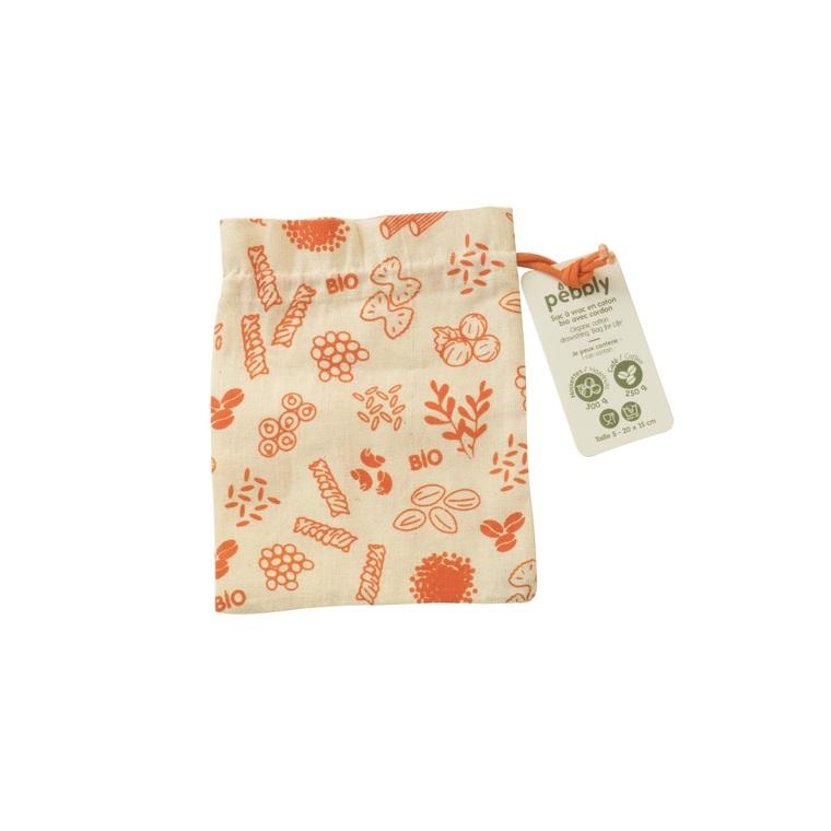 Sac à vrac en coton bio petit modèle décor orange 15x20 cm 685698
