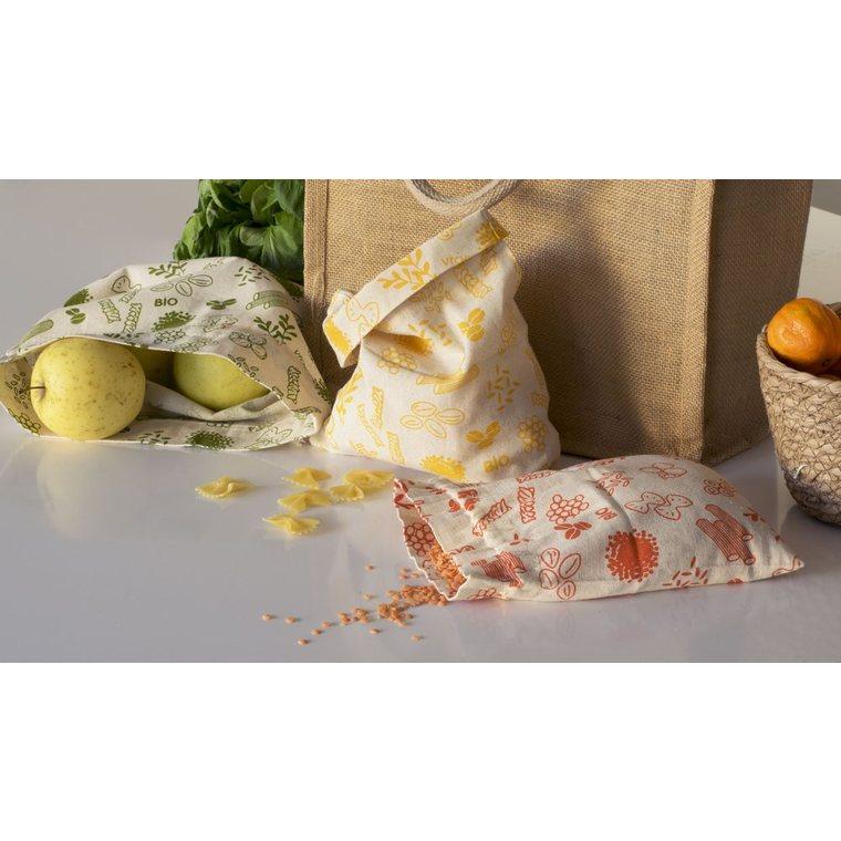 Sac à vrac en coton bio moyen modèle décor jaune 20x25 cm 685699