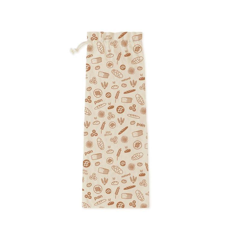 Sac à pain en coton bio décor marron 65x20 cm 685701