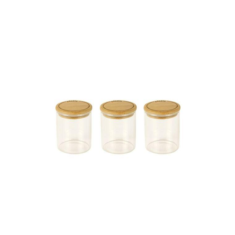 Ensemble de 3 boîtes à épices 190 ml en verre et bambou 8,5 x6,5 cm 685703
