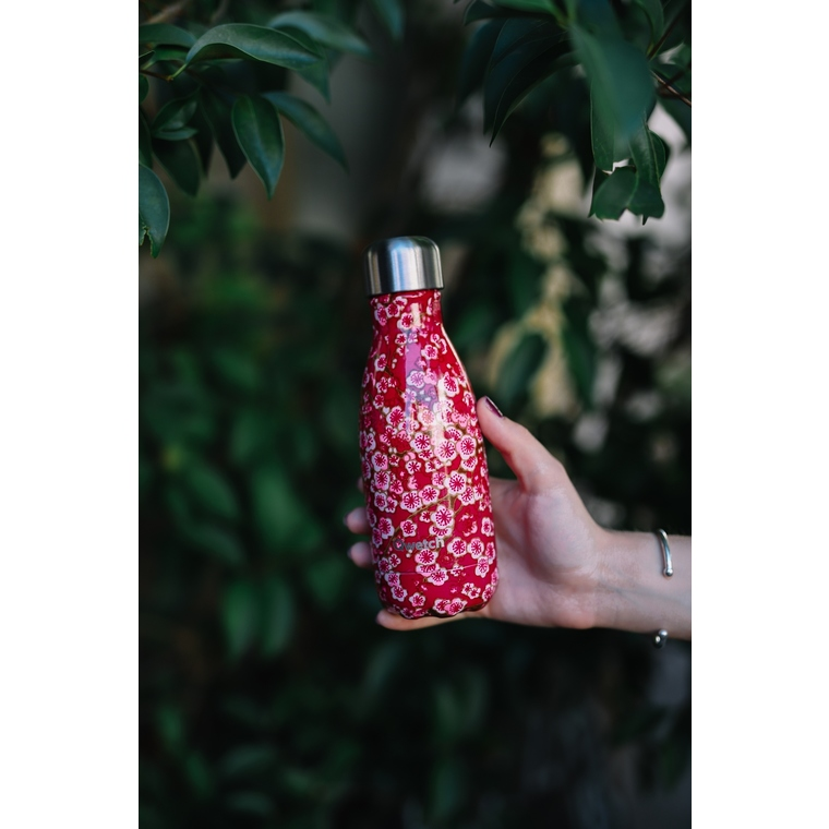 Bouteille isotherme Qwetch en inox Flowers rouge 260 ml 697138