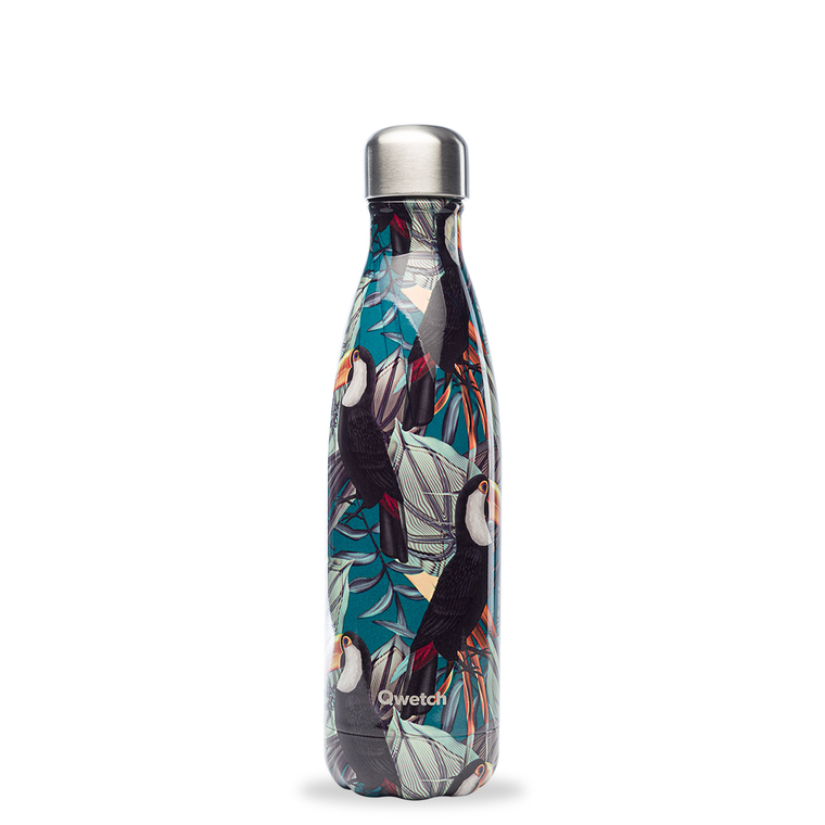 Bouteille isotherme Qwetch en inox Tropical toucan 500 ml 697152