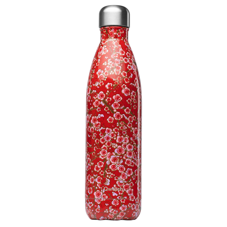 Bouteille isotherme Qwetch en inox Flowers rouge 750 ml 697153