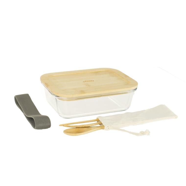Lunch box nomade en verre et bambou 1000 ml avec couverts 20x15x6,5 cm 697175