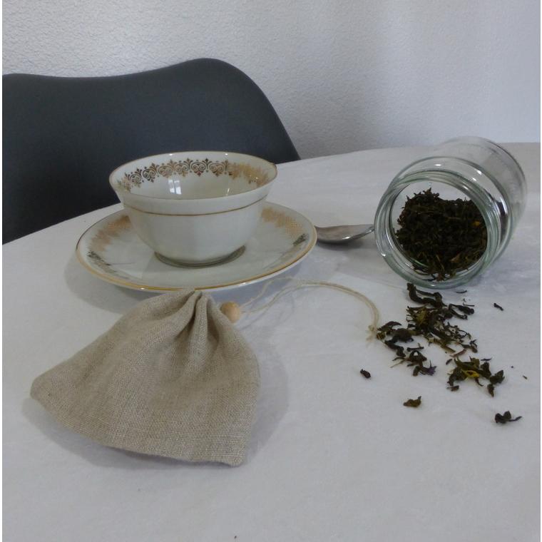 Filtre à thé en lin biologique réutilisable 10x9 cm 697296