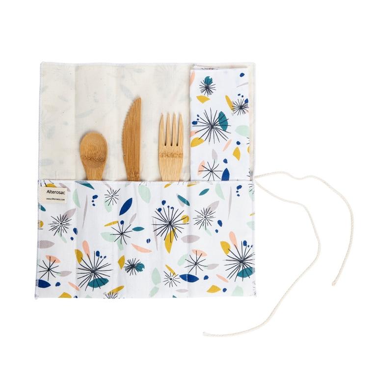 Étui à couverts en tissu à 4 compartiments avec serviette 26 x 25 cm 697303