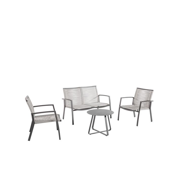 Banquette de jardin Taro gris charbon 121 x 70 x 82 cm 697542