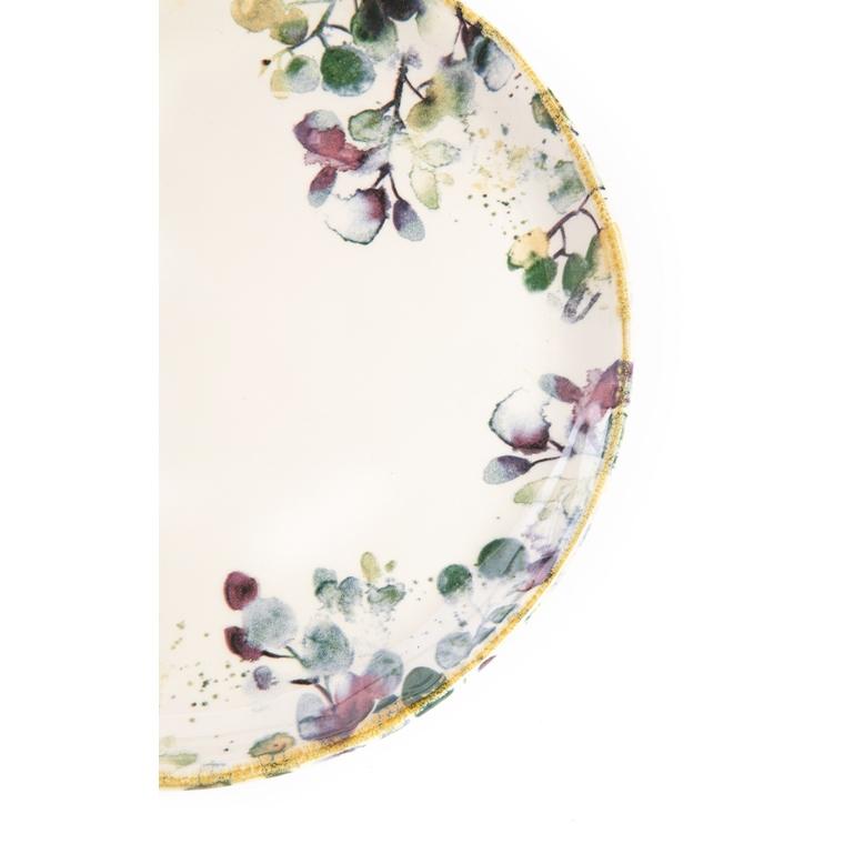 Assiette plate Flora motif feuillage multicolore Ø 26,5 cm 699151