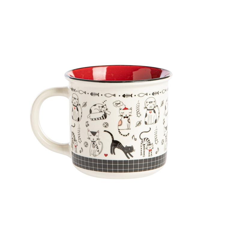 Coffret 4 mugs 35cl illustration chat 699156