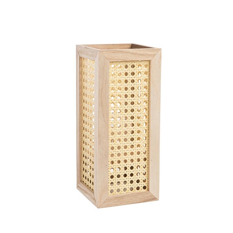 Lampe à pile en bois et rotin 12x12x28 cm 699269