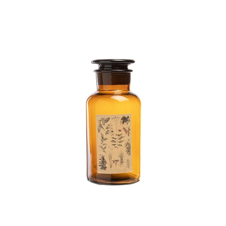 Bouteille Herbs en verre marron avec étiquette décorée H 18 x Ø 8,5 cm 699645