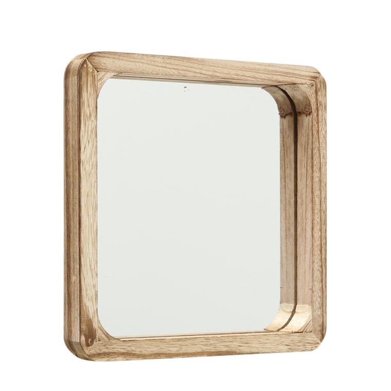 Miroir Mambo taille 2 carré en bois de Paulownia 30x30x3 cm 699651