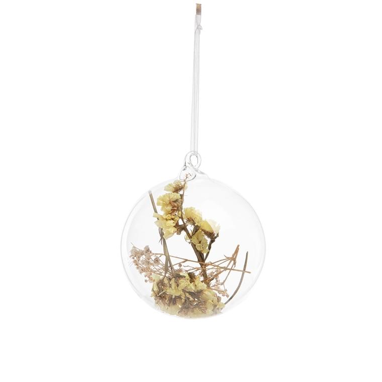 Boule décorative en verre fleur blanche 699786