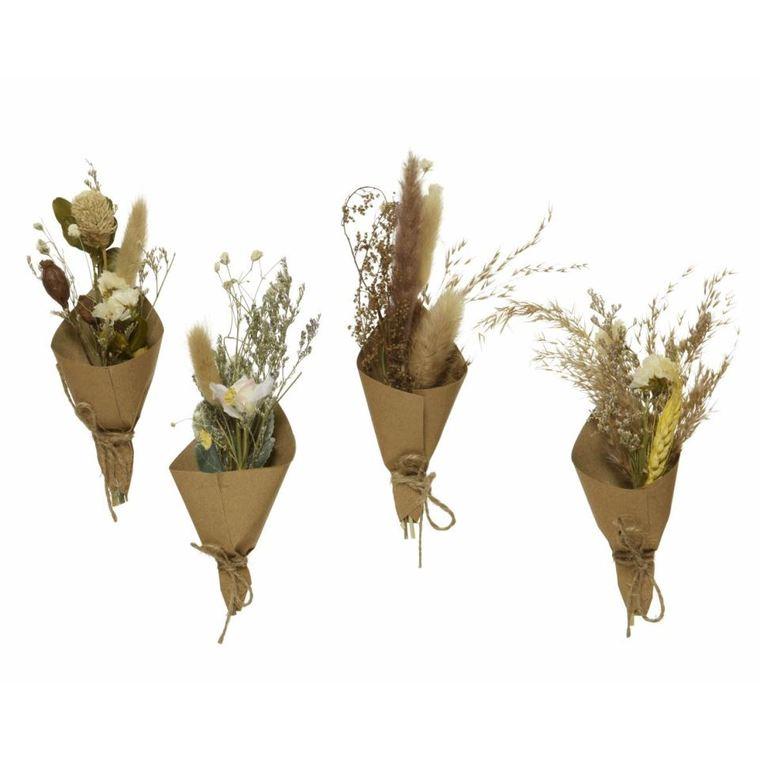 Pique mini bouquet de fleurs séchées dans papier kraft 7x4x16,5 cm 699916