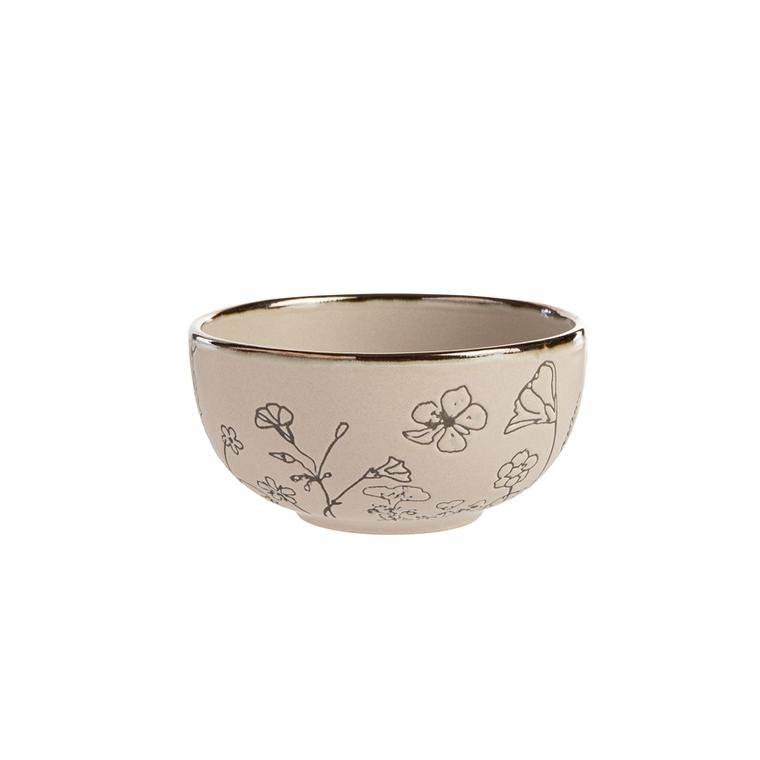 Bol en céramique motif floral gris petit modèle Ø 11,5 x H 5,8 cm 699923