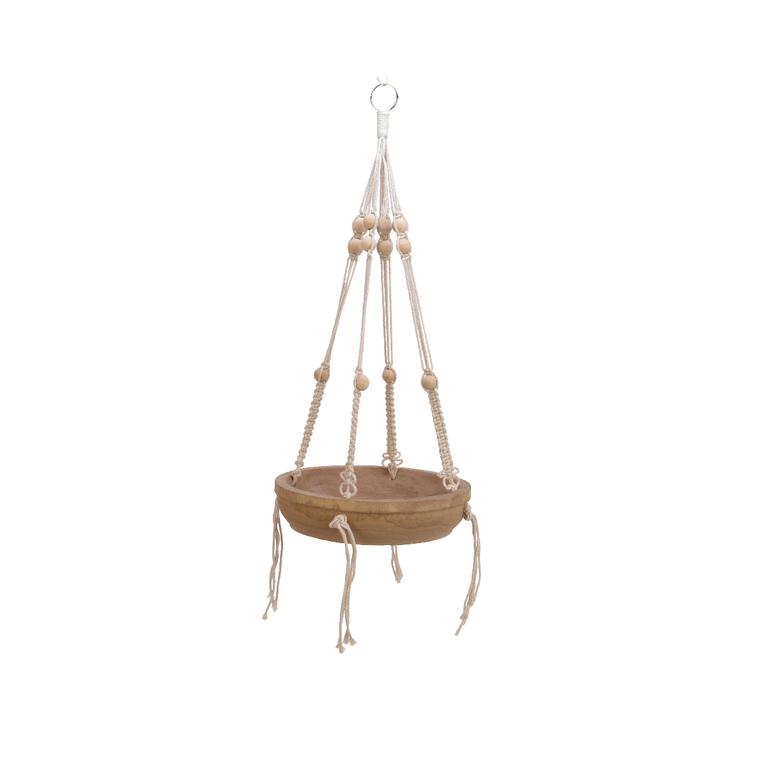 Plateau à suspendre en bois avec corde en macramé H 18 x Ø 31 cm 699934