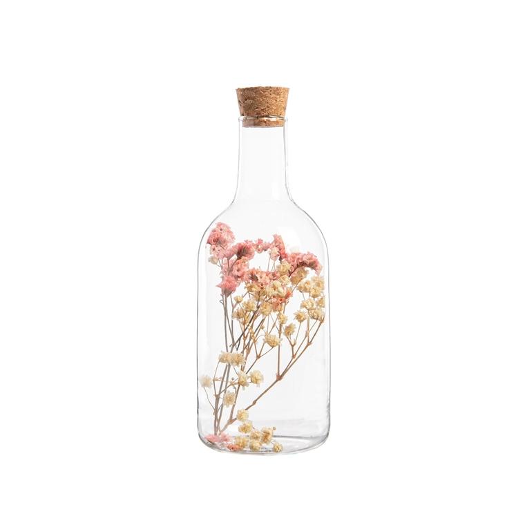 Bouteille en verre avec fleurs séchées et bouchon en liège Ø 6,5 cm 699940
