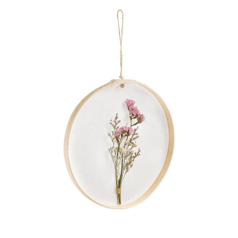 Cadre à suspendre avec bouquet fleurs séchées coloris assortis H 20 cm 699943