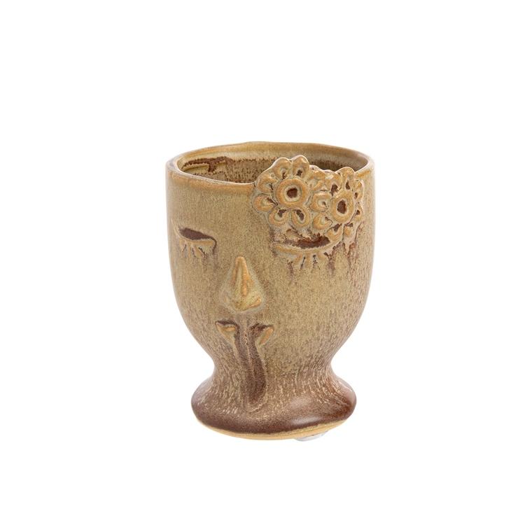 Cache-pot en céramique forme visage coloris rose doux petit modèle 699964