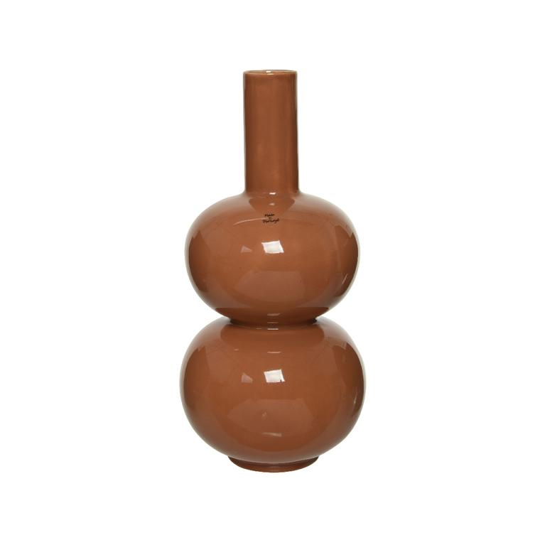 Vase en céramique brun forme boule Ø 19,5 x H 41 cm 699974