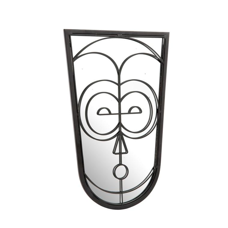 Miroir forme visage en métal noir 8,1x50 cm 699983