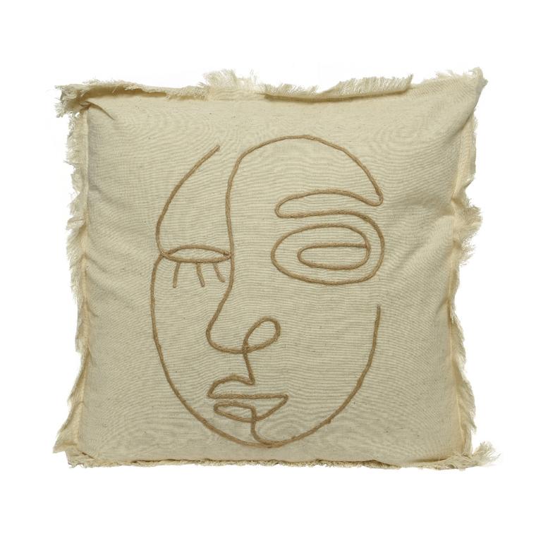 Coussin avec visage en coton beige 45x45 cm 699988
