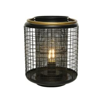 Lanterne forme ovale en métal noir avec LED blanc chaud H 25 x Ø 18 cm 700006
