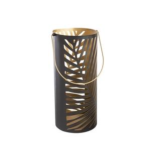 Lanterne Ouragan en métal noir et or H 44,5 cm 700009